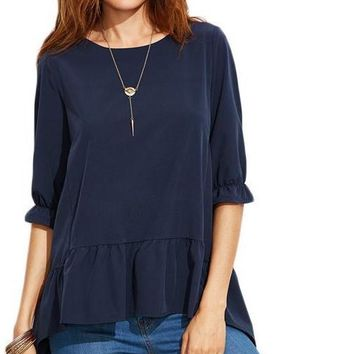 Fashion Clothing for Women Latest Top Designs Navy Ruffle Sleeve High Low Tiered Peasant Top Blouse
