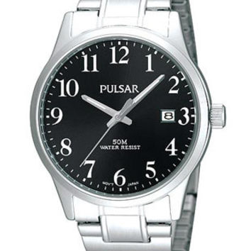 Pulsar Mens Expansion Band Watch - Black Dial - Sizing-Clasp System - 50M WR