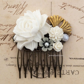Victorian Hair Comb Gold White Wedding Bridal Hair Accessories Heirloom Vintage Style Headpiece  Big Rose Flower Leaves Rhinestone Pearl JW