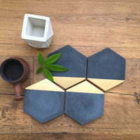 New***   Black Concrete Hexagon Gold Painted Coasters. Set of 2. Set of 4. Set of 6