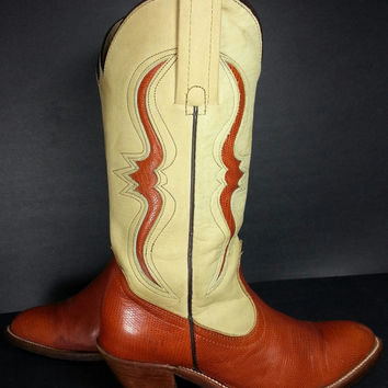Frye Vintage Cowboy Boots Khaki Leather Brown Lizard Exotic Women size 7