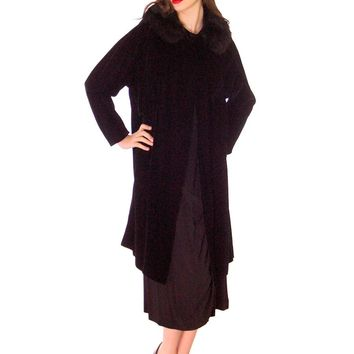 Vintage 1950s Womens Black Velvet Evening Coat Fur Trim Classic Style Fits S M L