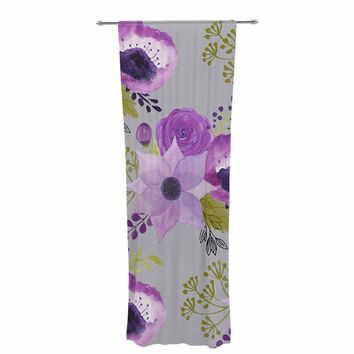 "Li zamperini ""Lilac"" Lavender Gray Abstract Nature Illustration Watercolor Decorative Sheer Curtain"