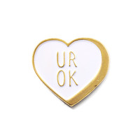 UR OK Heart Pin - White