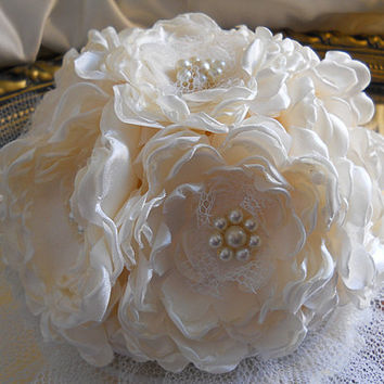 "6"" Ivory Peony Wedding Cake Topper, handmade ivory peonies, ivory pearls and tulle."
