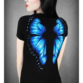 Hot Sale 2015 Summer Style Harajuku t shirt Women 3D Wing Butterfly Print Women Tops Sexy Slim Female Shirt Camisetas T-Shirts