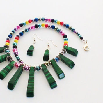 Multi Coloured Seed Beaded Necklace & Earrings Set Dark Green With Black Water Marks Silver Plated Flower Spacers Makes A Great Gift