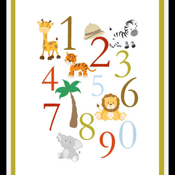 Numbers 123 Nursery Art Print with Safari animals, Children artwork for playroom - multiple sizes