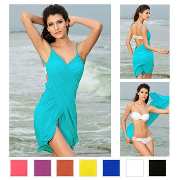 ONETOW 2016 Fashion Slim Tunic Beach Cover Up Sexy Swimwear Summer Dress gorgeous Stylish Cross Front Cropped Swimsuit Cover Up