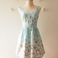 Blue Sundress Vintage Inspired Summer Dress Blue Tea Party Dress Sweet Dress Floral Dress ,custom