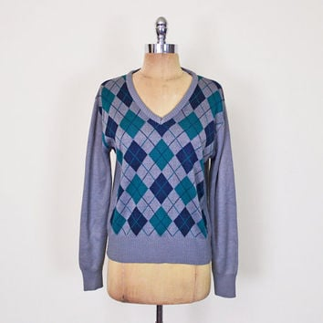 Vintage 80s 90s Grey & Blue Argyle Sweater Jumper V-Neck Sweater Slouchy Oversize Sweater Preppy Sweater 90s Grunge Sweater Men Women S M