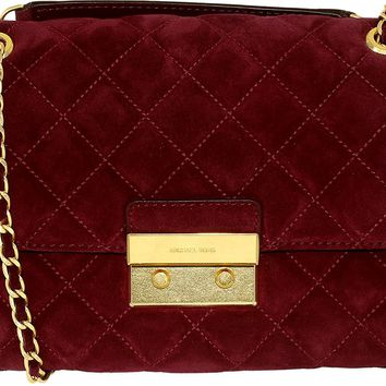 Michael Kors Women's Large Sloan Quilted Suede Fabric Shoulder Bag