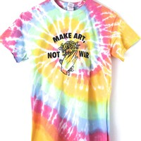 Make Art, Not War Pastel Rainbow Tie-Dye Graphic Unisex Tee
