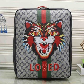 ICIKJG8 Gucci Women Fashion Leather Angry Cat Print School Bookbag Backpack