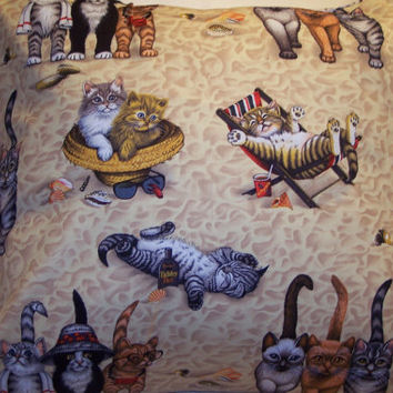 Decorative Pillow Cover, Throw pillow Cover Single ,18 x 18 Jammin Cats, Kitties at the Beach