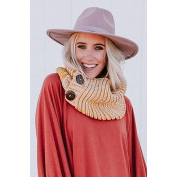 Chunky Knit Button Infinity Scarf - Mustard