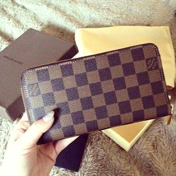 LV tide brand female classic old chess board gla chain wallet Coffee check