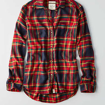 AEO Ahh-mazingly Soft Boyfriend Shirt, Gray