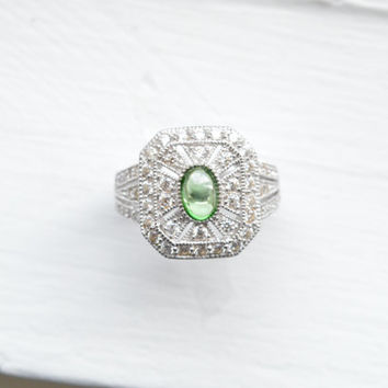 Peridot Art Deco Ring - August Birthstone - Micro Pave Ring - Sterling Silver Ring - Stunning Estate Ring