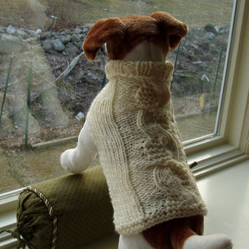 Dog Sweater Hand Knit Cream Garter Stitch Cable Medium by jenya2