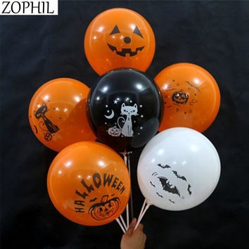ZOPHIL 12inch 6pcs Mixed Latex Balloons Theme of Halloween Decoration Pumpkin Bat Cat Skull Pattern Festival Party Supplies