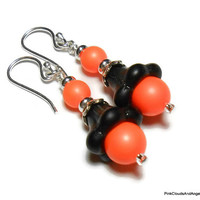 Dangle Earrings Jewelry Neon Orange and Black Swarovski Pearls Lampwork Tulip Silver Filled Ear Wires Handmade Fashion One of a Kind