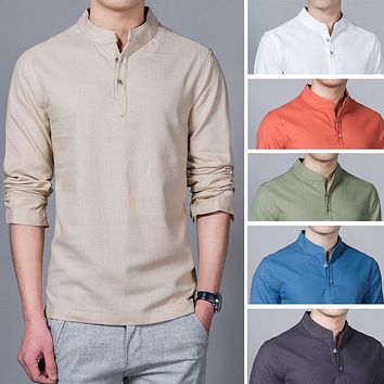 Men's Long Sleeve Mandarin Linen Shirt