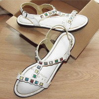 Vintage 60s T-Strap Sandals | 1960s White Sandals | Stone Embellished | White Shoes | Size 6