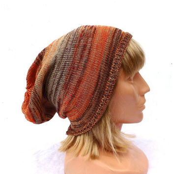 Knit hat, knitted cotton slouche, knitting summer cap, colorful striped beanie, yellow orange brown gray hat, women men accessories, hat