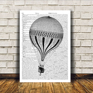 Antique art Victorian decor Balloon poster Steampunk print RTA375