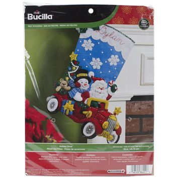 "Holiday Drive Bucilla Felt Stocking Applique Kit 18"" Long"