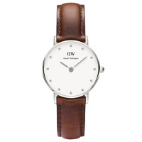 Daniel Wellington 0920DW Women's Classy St. Andrews Crystal White Dial Brown Strap Watch