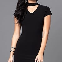 Short High-Neck Party Dress with Short Sleeves