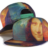 New Fashion Baseball Caps Hiphop Mona Lisa Smile 3D Allover Printing Unique Snapback Caps Men Women Caps Vintage Snapback Hats