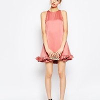 ASOS Mini Shift Dress With Ruffle Hem at asos.com
