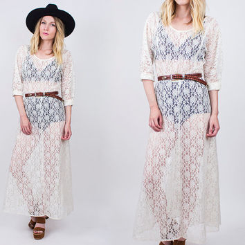 vintage 80s white lace sheer maxi dress floral bohemian see thru cover up long sleeve boho hippie grunge hipster