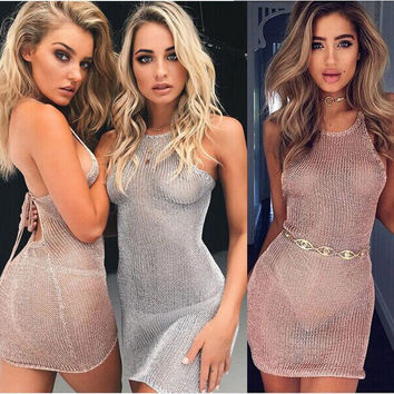Ladies Summer Dresses Sleeveless Women Sexy Sheer Dress See Through Mesh Evening Party Short Mini Dress Beach Sundress@