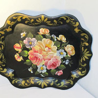 Hand Painted Tole Tray, Vintage Home Decor, Flower and Gold Trimmed Chippendale Table Tray