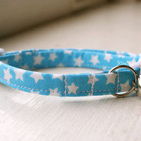 Handmade Cat/Dog Collar - Blue & White Stars - Made to Order Adjustable Buckle Breakaway Cat Collar Fabric Collar Accessory Pet Accessories