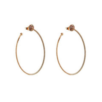18 Carat Rose Gold Hoop Earrings with White Diamonds and Pink Sapphires - Carolina Bucci | WOMEN | US STYLEBOP.com