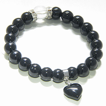 Cute Crystals And Black Agate Heart Spiritual Protection Bracelet