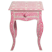 Izzy Bone Inlay Side Table, Coral, Standard Side Tables