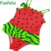 Children girl swimwear baby girl one-piece swimsuit 3 colors watermelon print bathing suit for girls kids swimming suit 1-5 age