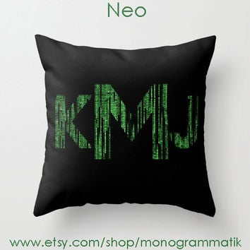 "Monogram Personalized Custom Pillow Cover ""Neo"" 16x 16 Couch Art Bedroom Room Decor Initials Name Letters Code Black Forest Green Moss"