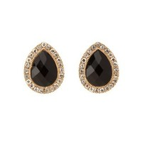 Black Faceted Stone Teardrop Stud Earrings by Charlotte Russe