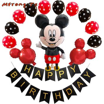 26pcs/lot Big Size Mickey Minnie Mouse Foil Balloons with Happy Birthday Banners Classic kids Toys Birthday Party Balloon Decor