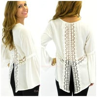 Moonlight Drive Ivory Peasant Blouse