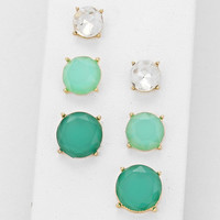 Resin Stone Emerald Gold Mint Earring Set