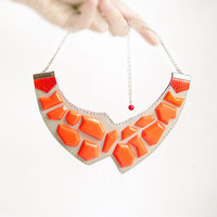 Geometric Leather Necklace neon orange and grey, geometric jewelry, bib asymmetric necklace, natural leather jewelry, minimalist, neon