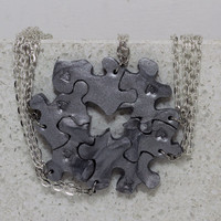 Puzzle piece pendants set of 6 pieces Silver polymer clay Best friend or family puzzle